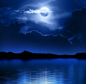 Moon and Clouds over water